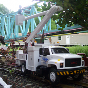 My Bridge Service bucket truck modified with a USA Trains motor block