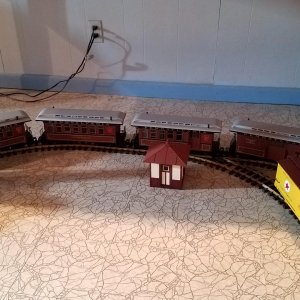 Running the trains and my first building, Cherry Hill shanty.