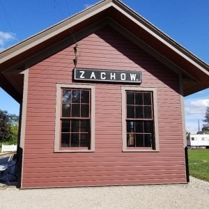 Reproduction of original Zachow Wi. depot, displayed in Shawano Wi.  My Grandpa left the farm for WW1 from the original in 1917. When he returned home