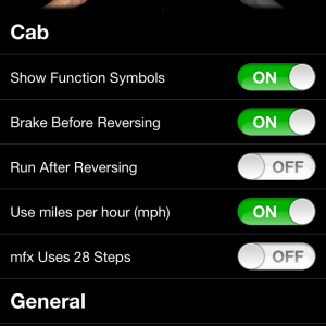 TouchCab settings